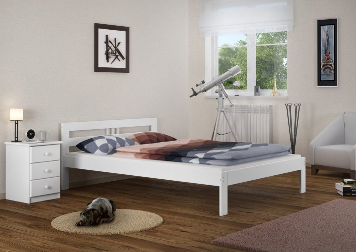 massivholzbett wei kiefer jugendbett 120x200 einzelbett futonbett mit rollrost w. Black Bedroom Furniture Sets. Home Design Ideas