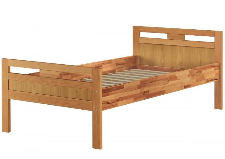 massivholzbett seniorenbett buche natur 90x200 einzelbett hohes bett mit rollrost. Black Bedroom Furniture Sets. Home Design Ideas