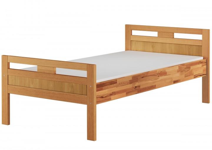 massivholzbett seniorenbett buche natur 100x200 einzelbett hohes bett mit matratze m. Black Bedroom Furniture Sets. Home Design Ideas