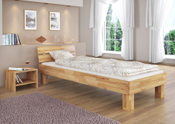 einzelbett berl nge 90x220 buche massivholz natur futonbett rollrost matratze m. Black Bedroom Furniture Sets. Home Design Ideas