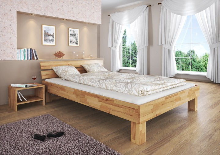 doppelbett buche natur 160x200 massivholzbett ehebett ohne rollrost or doppelbetten. Black Bedroom Furniture Sets. Home Design Ideas