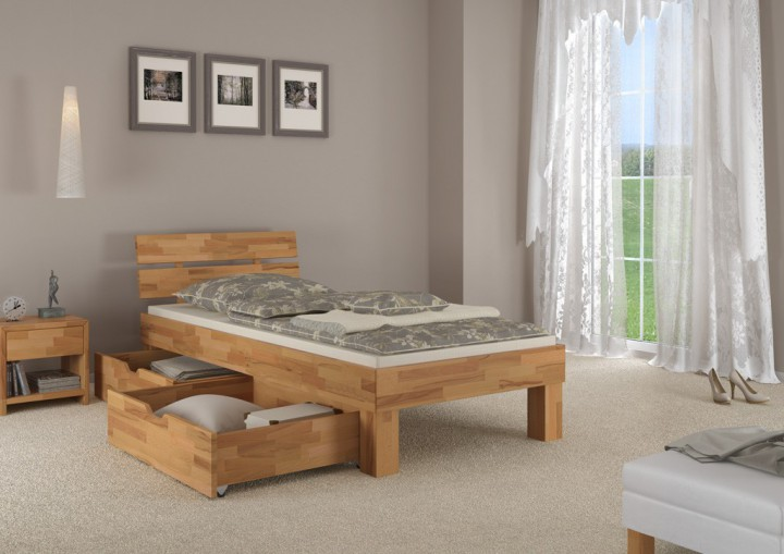 buchebett massiv einzelbett 100x200 futonbett franz sisches bett bettkasten rollrost. Black Bedroom Furniture Sets. Home Design Ideas