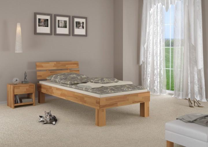 buchebett massiv einzelbett 100x200 bettgestell holzbett. Black Bedroom Furniture Sets. Home Design Ideas