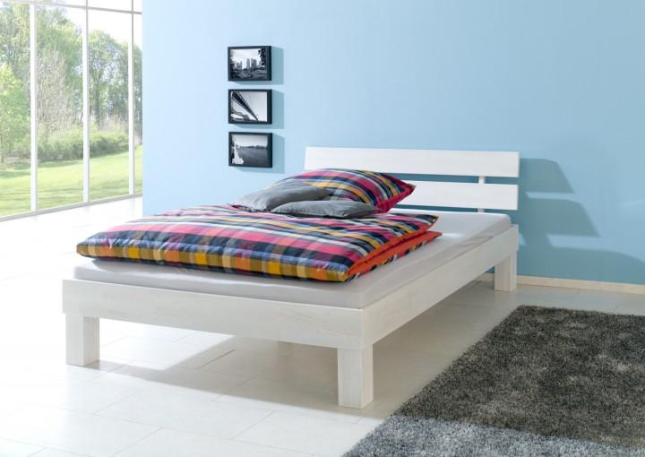 Doppelbett Überlänge 140x220 Buchebett Massivholz Bettgestell Weiß Ohne  Zubehör 60.86 14 220 W OR
