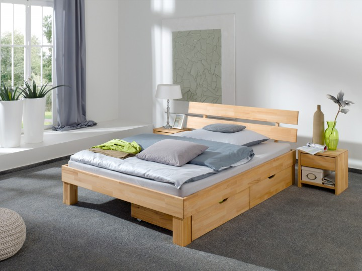 franz sisches bett doppelbett 140x200 buchebett massivholz natur mit bettkasten b33. Black Bedroom Furniture Sets. Home Design Ideas