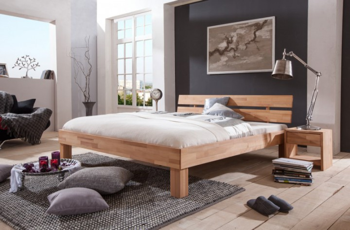 ehebett mit berl nge 180x220 doppelbett buchenholzbett. Black Bedroom Furniture Sets. Home Design Ideas