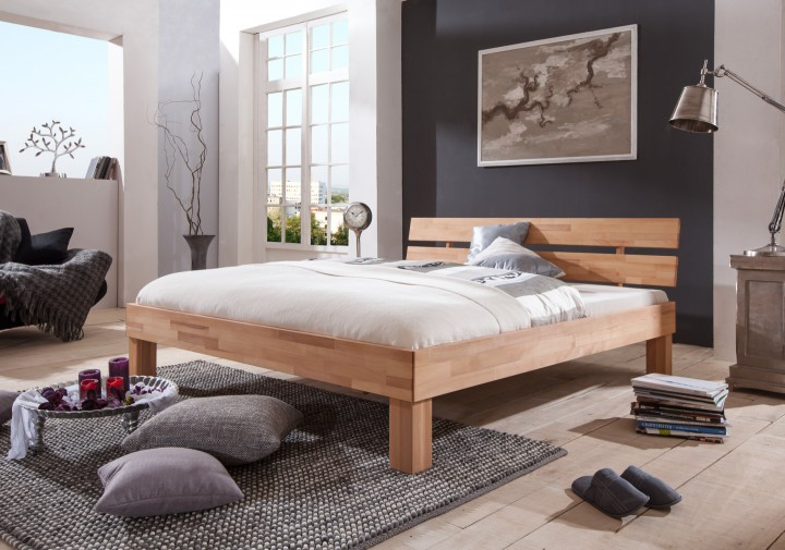buchenholzbett mit kingsize 180x220 ehebett natur doppelbett matratze rollrost m. Black Bedroom Furniture Sets. Home Design Ideas