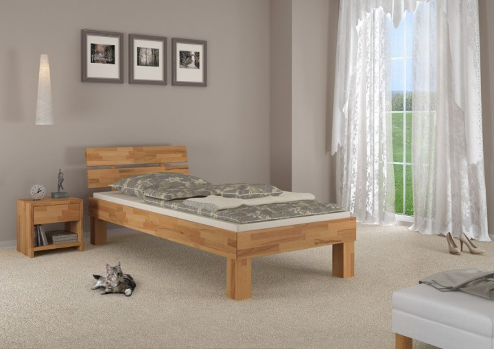 holzbett eiche massiv einzelbett jugendbett 100x200. Black Bedroom Furniture Sets. Home Design Ideas