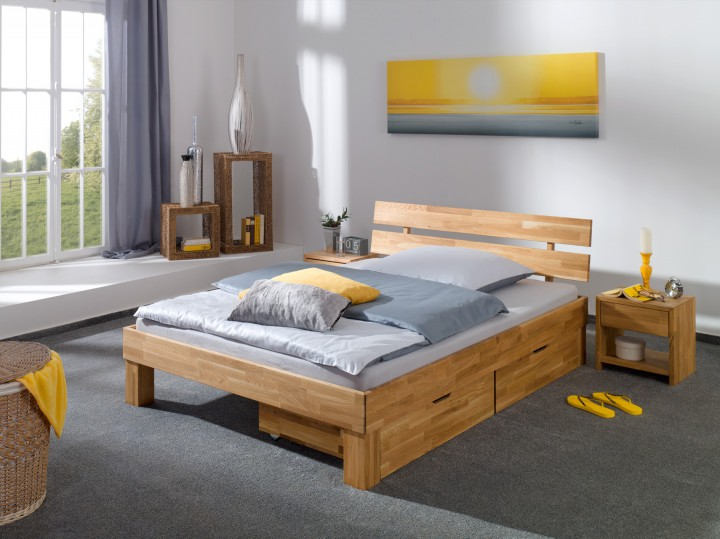 b34 franz sisches bett eiche 140x200 cm mit bettkasten eiche massiv mit rollrost. Black Bedroom Furniture Sets. Home Design Ideas