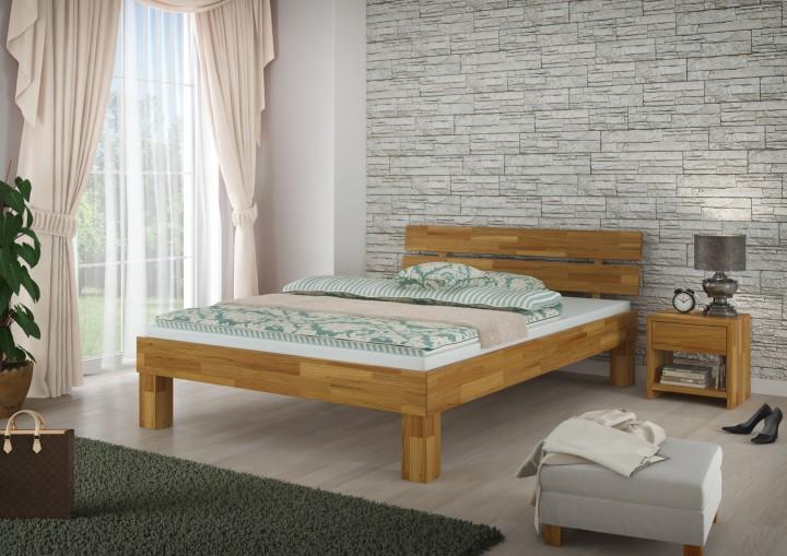 Doppelbett ehebett 180x200 massivholzbett eiche natur for Bett eiche 180x200