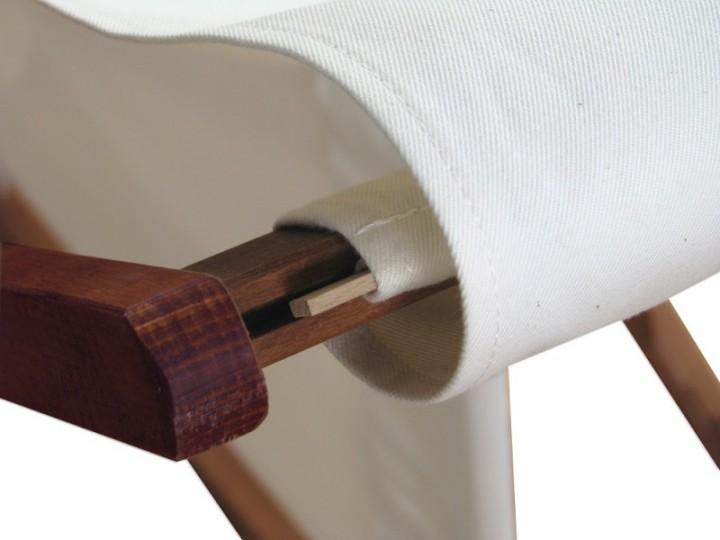 Liegestuhl weiß Fußablage u Kissen Deckchair klappbar Sonnenliege ...