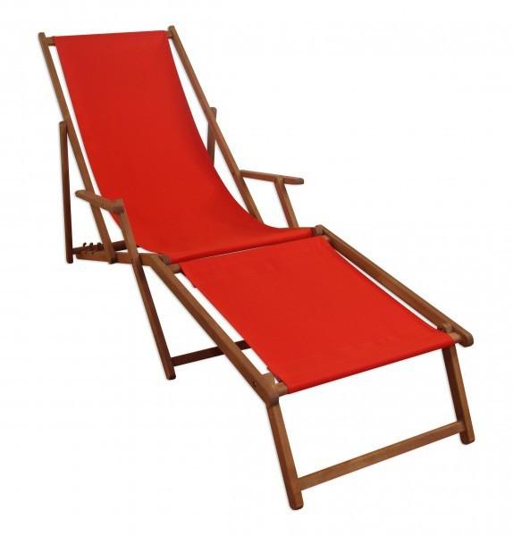 Sonnenliege holz  Sonnenliege Liegestuhl rot Fußteil Gartenliege Holz Deckchair ...