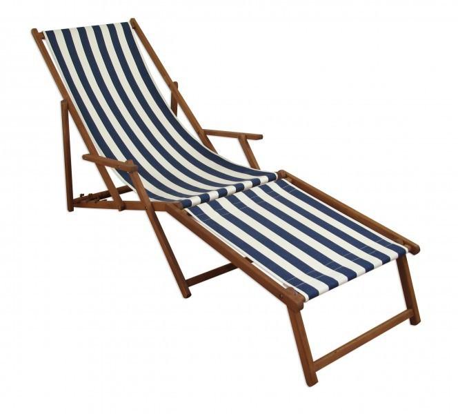Sonnenliege klappbar holz  Liegestuhl blau-weiß Sonnenliege Gartenliege Deckchair Buche ...