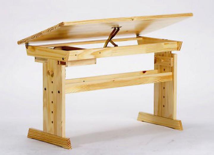 Schreibtisch holz natur  90.74-01 Schreibtisch Kiefer Massivholz, natur lackiert für Kinder ...