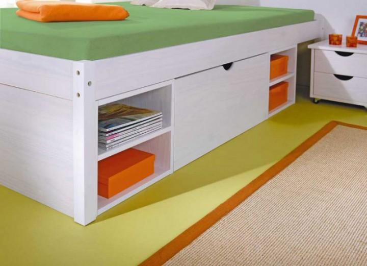 funktionsbett till 140x200 kiefer wei nachttisch u. Black Bedroom Furniture Sets. Home Design Ideas