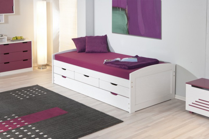 funktionsbett ulli 90x200 massivholz kiefer jugendbett wei einzelbetten. Black Bedroom Furniture Sets. Home Design Ideas