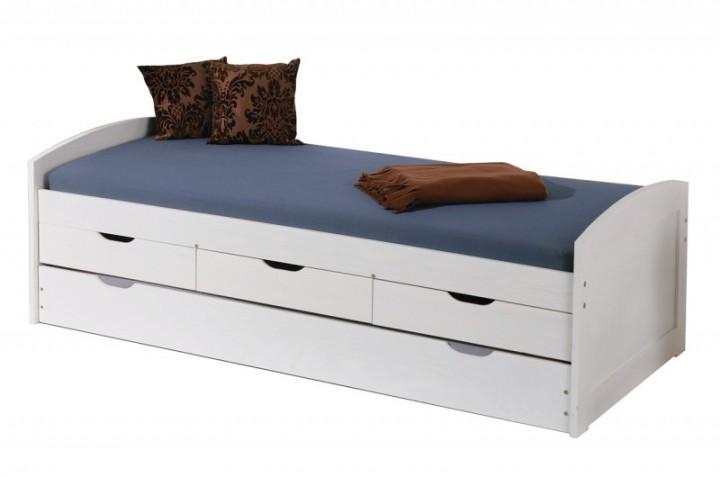 Funktionsbett Jugendbett Bett 5 Schubladen Nachttisch Weiss 90x200cm ...