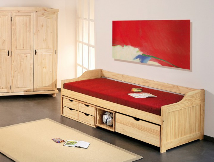 funktionsbett maxima 90x200 massivholz kiefer jugendbett. Black Bedroom Furniture Sets. Home Design Ideas