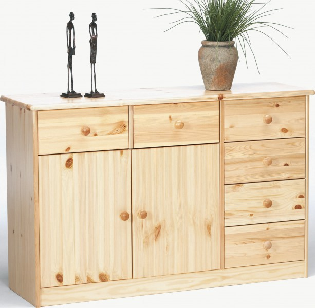 kommode anrichte kiefer natur 6 schubladen 2 t ren kommoden m belart m bel. Black Bedroom Furniture Sets. Home Design Ideas