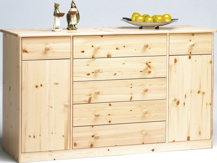 kommode highboard anrichte sideboard kiefer natur 7 schubladen 2 t ren kommoden. Black Bedroom Furniture Sets. Home Design Ideas