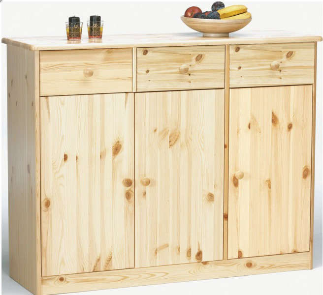 highboard kommode anrichte kiefer sideboard natur 3 schubladen 3 t ren kommoden. Black Bedroom Furniture Sets. Home Design Ideas