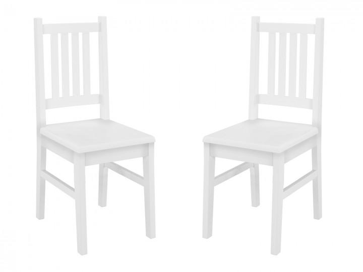 Weißer Küchenstuhl Massivholzstuhl Esszimmerstuhl Stuhl Eris Kiefer  90.71 01 2 W Set