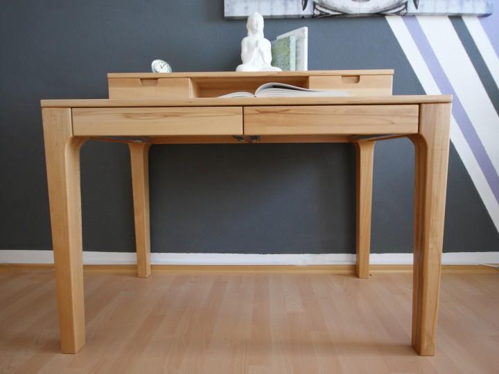schreibtisch b rotisch aus buche massivholz als laptoptisch mit regalaufsatz. Black Bedroom Furniture Sets. Home Design Ideas