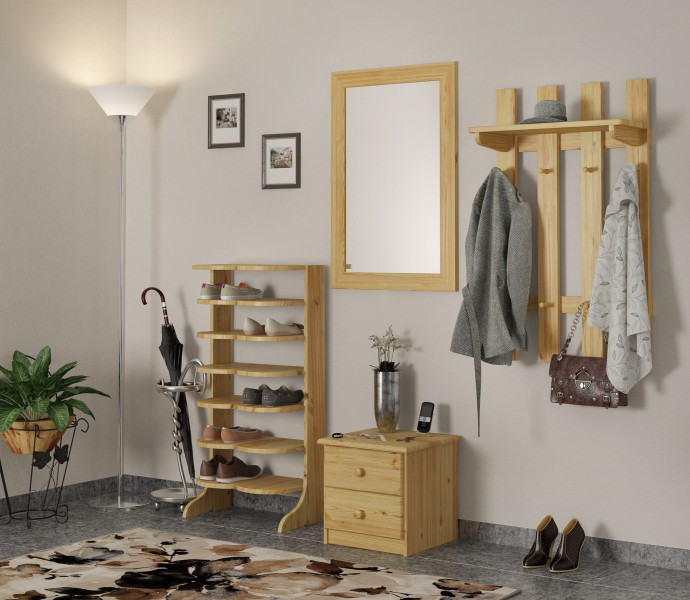 garderobenpaneel flurgarderobe kleiderhaken aus kiefer massivholz flur und diele. Black Bedroom Furniture Sets. Home Design Ideas