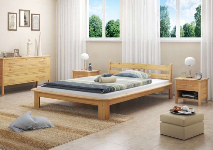 bettgestell kiefer natur doppelbett 140x200 massivholz bettgestell ohne rollrost or. Black Bedroom Furniture Sets. Home Design Ideas