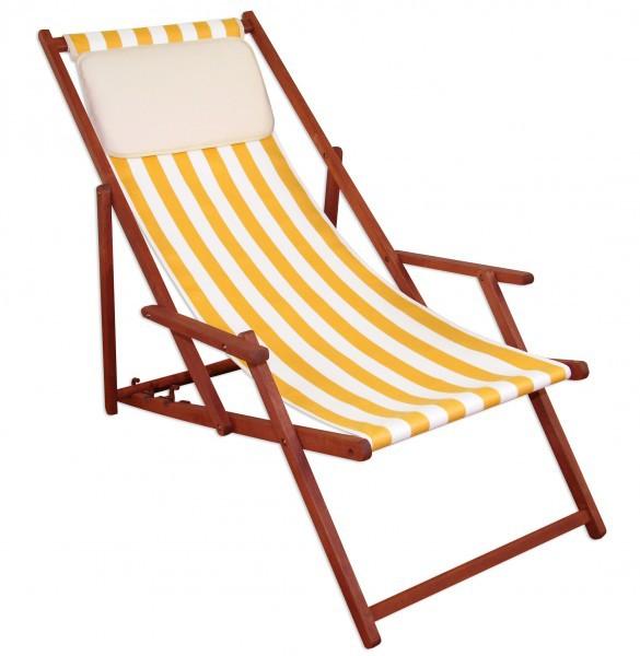 Gartenliege klappbar holz  Liegestuhl gelb-weiß Sonnenliege Kissen Deckchair Holz Buche ...