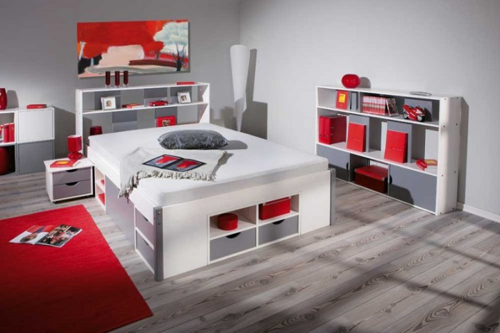 funktionsbett mikar 140x200 grau wei mit schubl den u f chern doppelbetten. Black Bedroom Furniture Sets. Home Design Ideas