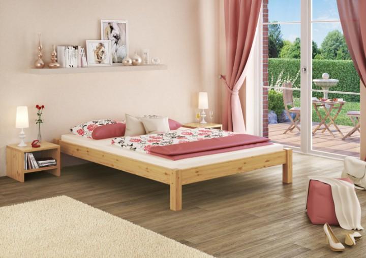 bettgestell kiefer natur doppelbett 140x200 massivholzbettgestell ohne rollrost or. Black Bedroom Furniture Sets. Home Design Ideas