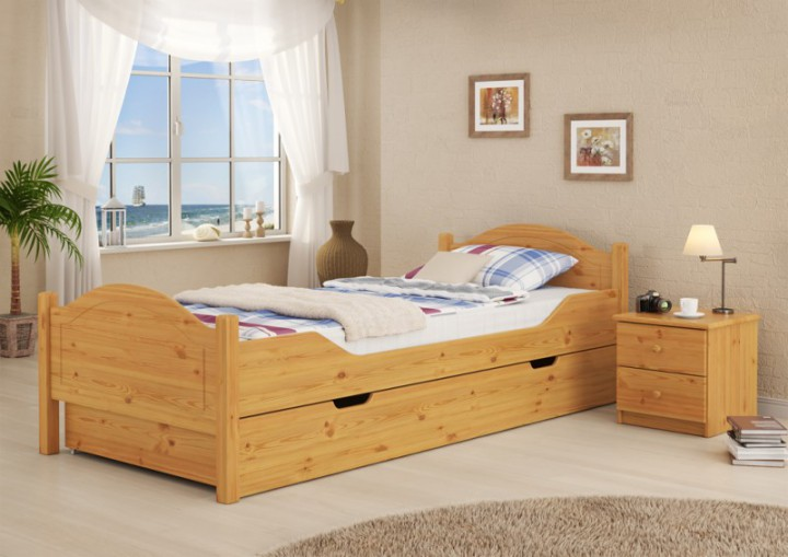 massivholz bett kiefer natur 100x200 einzelbett rollrost. Black Bedroom Furniture Sets. Home Design Ideas