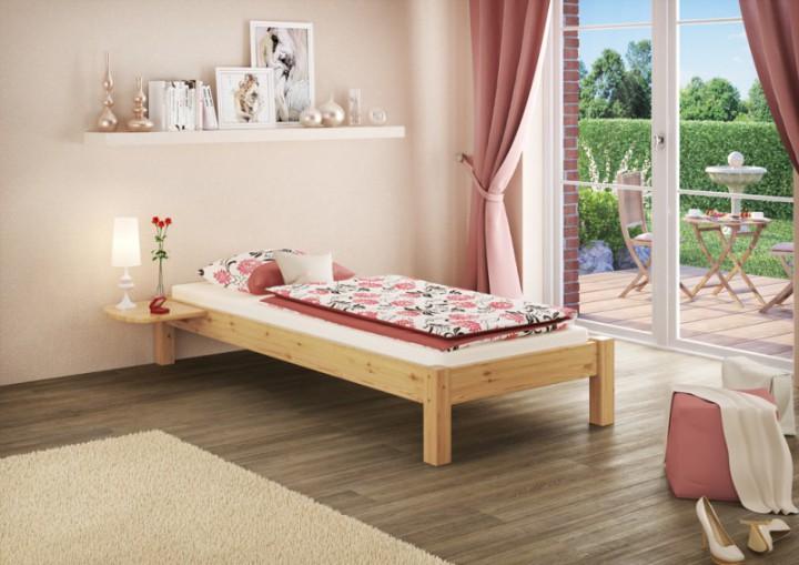 einzelbett futonbett 90x200 kiefer natur massivholz jugendbett singlebett rollrost. Black Bedroom Furniture Sets. Home Design Ideas