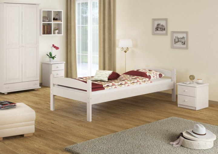stabiles bett kiefer massiv wei 90x200 einzelbett jugendbett rollrost matratze w m. Black Bedroom Furniture Sets. Home Design Ideas