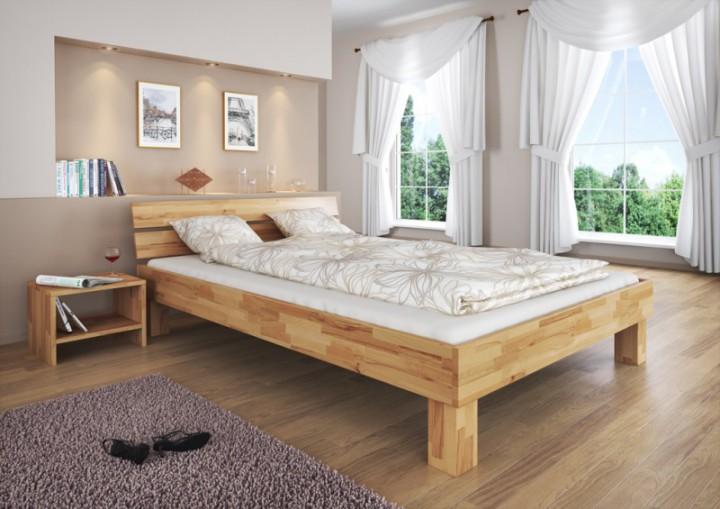 Holzbett massiv 140x200  Doppelbett 140x200 Futonbett Jugendbett Buchebett natur massiv ...