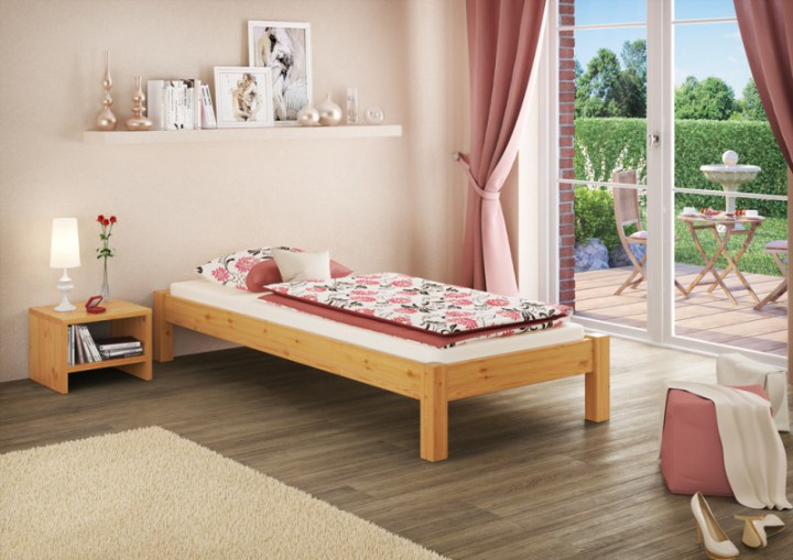 einzelbett kiefer natur 80x200 massivholzbett futonbett. Black Bedroom Furniture Sets. Home Design Ideas