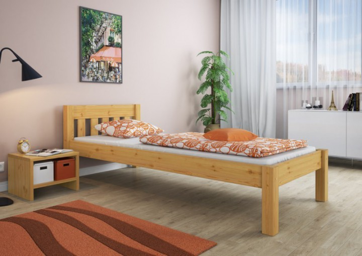 einzelbett futonbett 100x200 jugendbett massivholz kieferbett natur rollrost matratze m. Black Bedroom Furniture Sets. Home Design Ideas