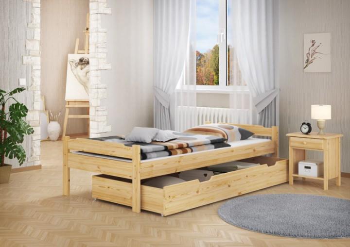 massivholzbett kiefer natur 90x200 einzelbett mit rollrost. Black Bedroom Furniture Sets. Home Design Ideas