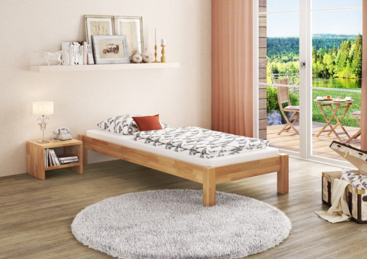 einzelbett jugendbett 90x200 futonbett buche massiv. Black Bedroom Furniture Sets. Home Design Ideas