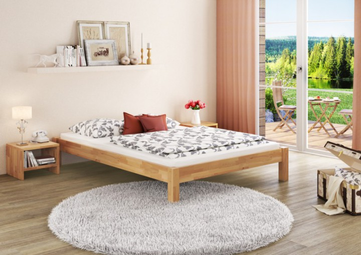 doppelbett ehebett 180x200 massivholz bettgestell buche natur ohne zubeh r or. Black Bedroom Furniture Sets. Home Design Ideas