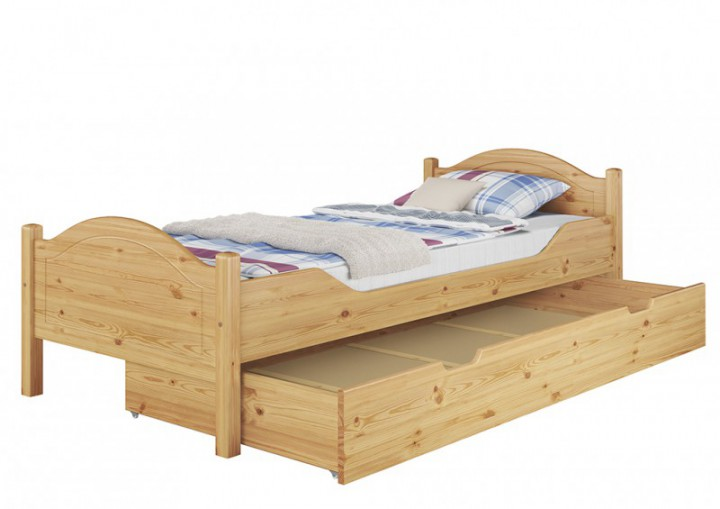 einzelbett massivholz kiefer natur 90x200 singlebett futonbett rollrost bettkasten s4. Black Bedroom Furniture Sets. Home Design Ideas